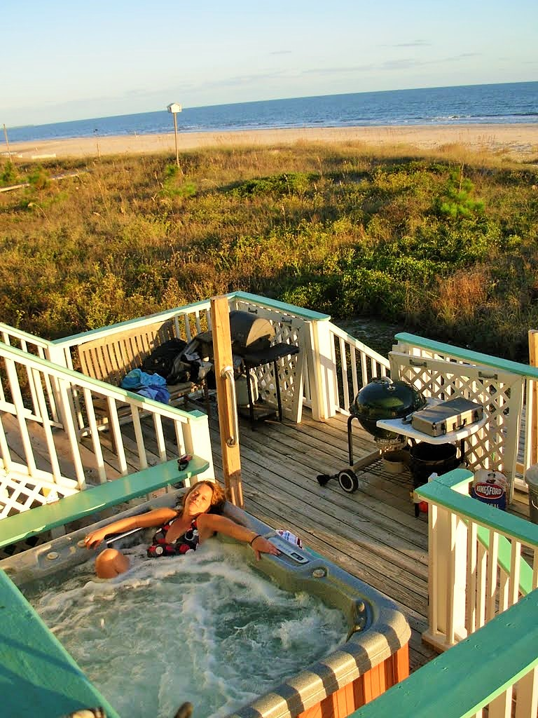 Two Palms Hot Tub on Deck Facing Gulf of Mexico
