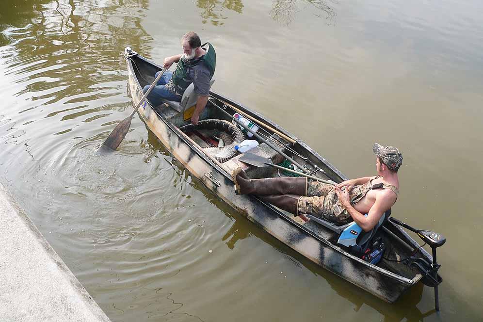 Alligator Catch in Boat