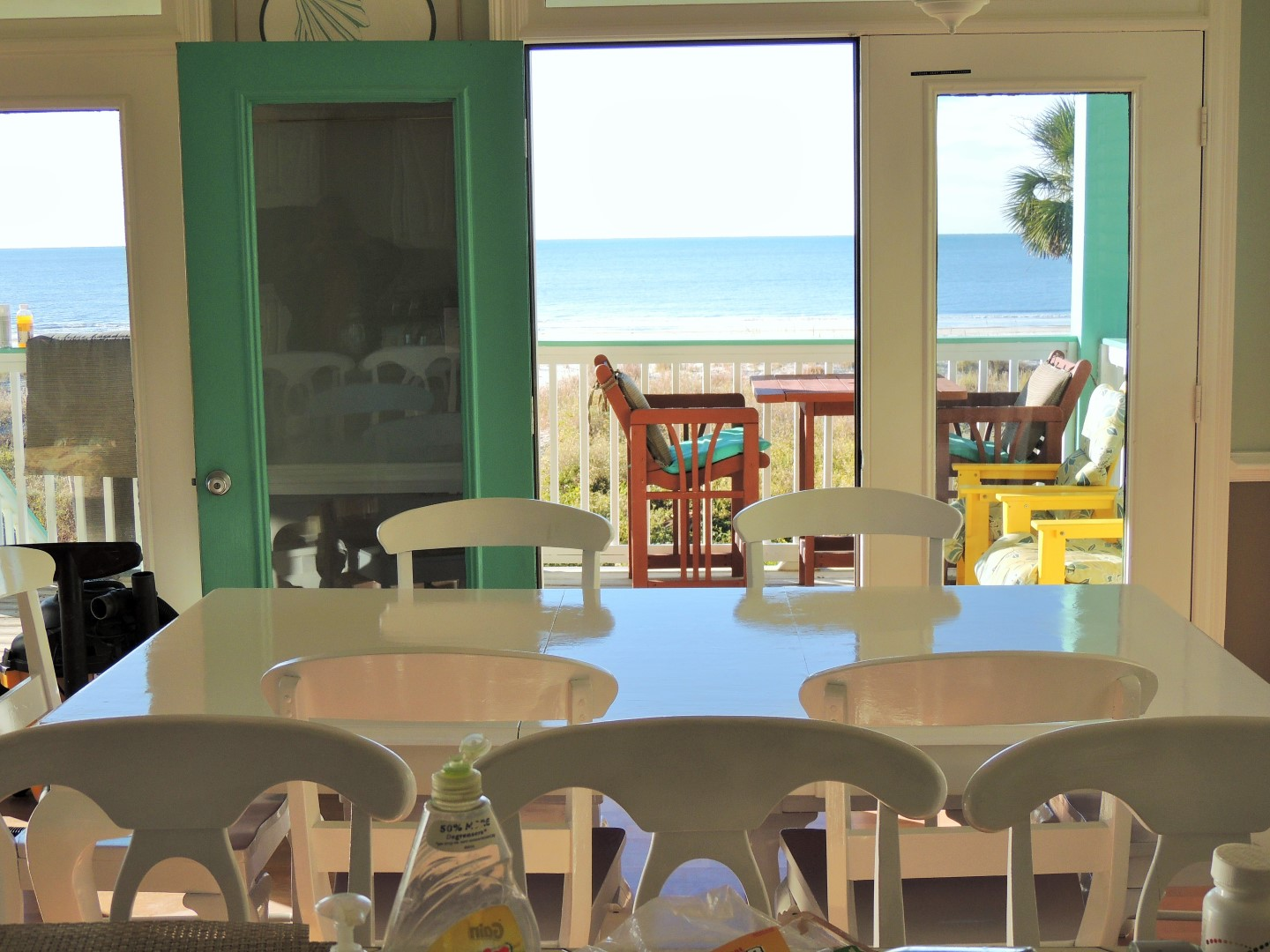 View of Deck and Gulf of Mexico from Dining and Kitchen Area-11