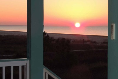 Sunrise on Two Palms Villa Porch-East- Left