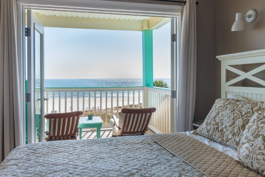 Gorgeous View Of Beach From King Bed in Master Bed Room with Private Deck.