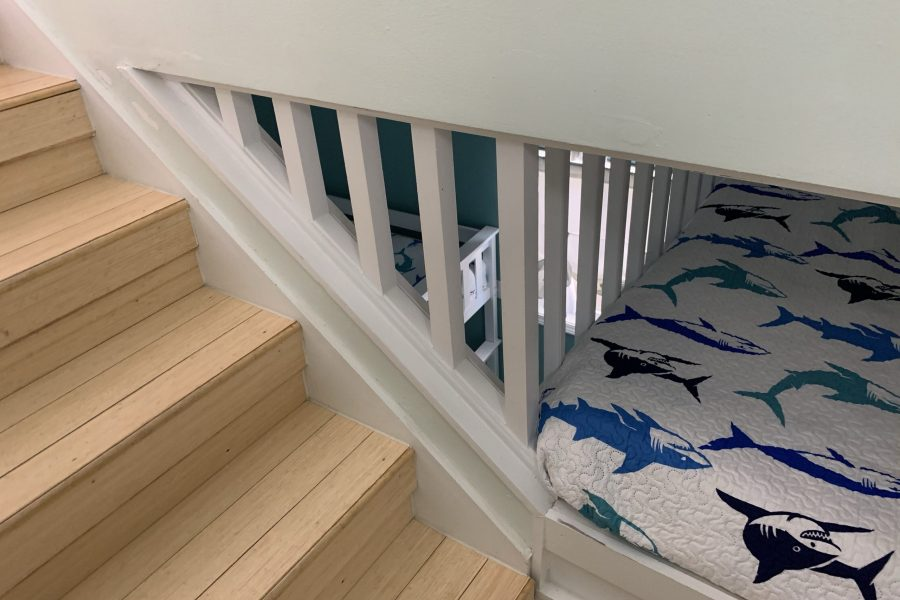 Final shot of stairs, entrance to loft mattress and majestic view of the bunk room.