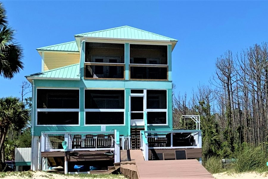 Two Palms Villa From the Beach, Showing the Boardwalk and Main Back Deck