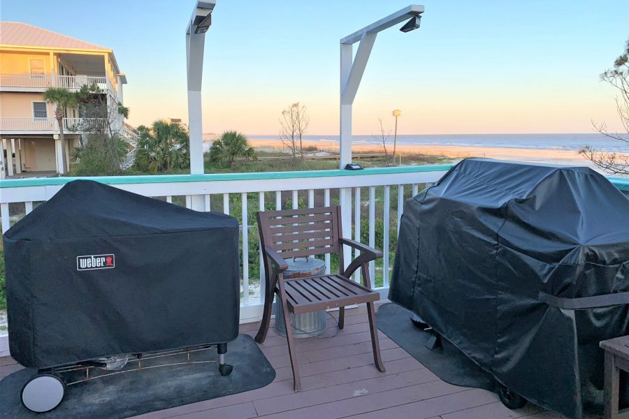 Open Air Deck #3- Gas Grill +Weber Charcoal Grill-Motion Detector Solar Lights Above Grills