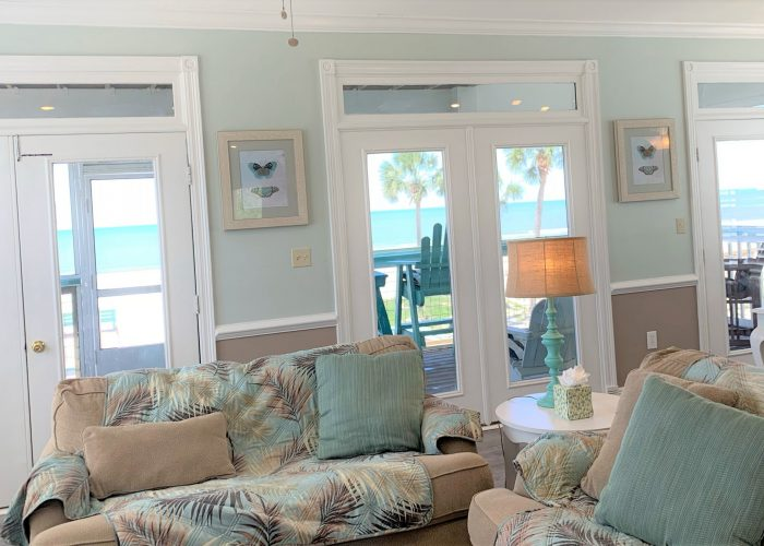 Living Room, View of Outside Deck and Gulf